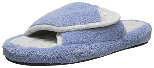 Isotoner Women's Signature  Microterry Pillowstep Spa Slide Slipper, Blue Moon, 6.5/7