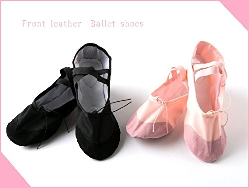 Front leather Ballet shoe (du Jia real) rubber is already sewn black 23.5 cm cross