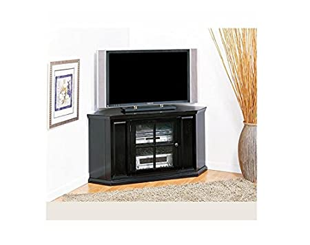 KD Furnishings Rubbed Black 46-inch Contemporary Modern Corner TV Stand & Media Console