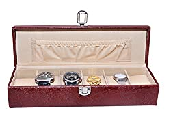 Essart PU Leather Watch Organiser Box for 6watches-B-Cherry-Cherry