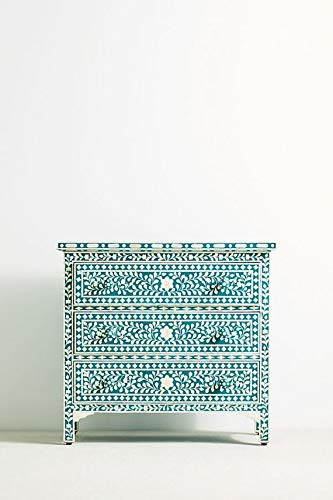 Handmade Bone Inlay 3 Drawers Chest in Turquoise