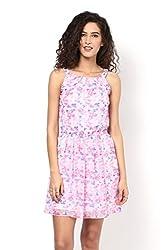 Pink Printed Back String Dress