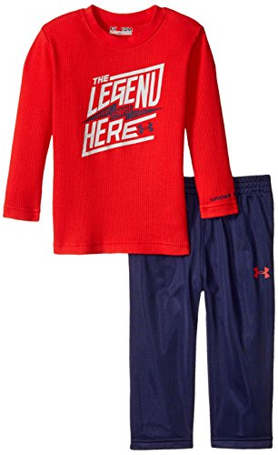 Under Armour Baby Long Sleeve Tee and Pant Set, Risk Red, 18 Months