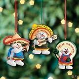 3 Feliz Navidad Snowman Musician Mexican Christmas Ornaments
