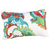 Trina Turk Trellis Coral Abstract Embroidered Decorative Pillow, 20 by 12-Inch, Turquoise/Coral