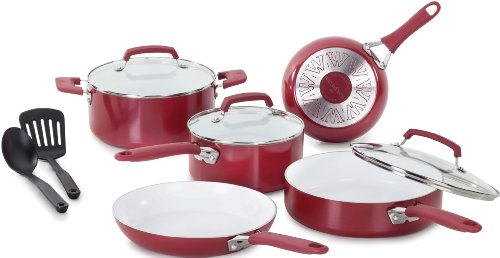 WearEver C943SA64 Pure Living Nonstick Ceramic Coating PTFE-PFOA-Cadmium Free Dishwasher Safe 10 Piece Cookware Set, Red