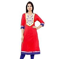 MSONS Women's Red Embroidered Long Anarkali Booti Cotton Kurti