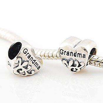 Believe Beads © x1 Heart Grandma Charm Bead for Pandora/Troll/Chamilia Style Charm Bracelet
