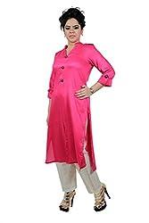 Kittus Fashion House Women's Poly Rayon Straight Kurti (Kskrt-1089C_Pink_Large)
