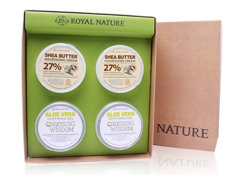 Aloe Vera Gel 300g * 2 + Shea Butter Cream 300g * 2 (organic cosmetics, Soothing, elastic, high moisture)