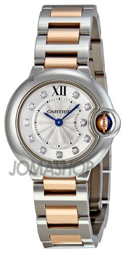 Cartier Ballon Bleu Silver Dial Steel and 18kt Rose Gold Ladies Watch WE902030