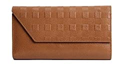 Walletsnbags Checkered Ladies Wallet Beige
