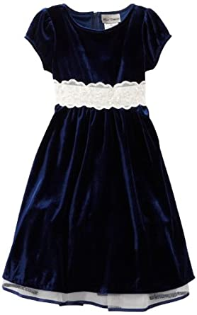 Rare Editions Big Girls' Velvet Dress, Navy/White, 7