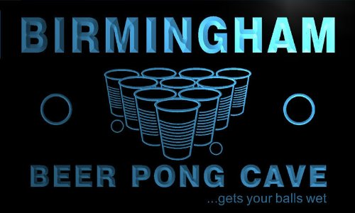 Qr2147-B Birmingham Beer Pong Cave Personalized Custom Neon Bar Sign