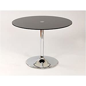 Large Round Glass Dining Table Black Becky