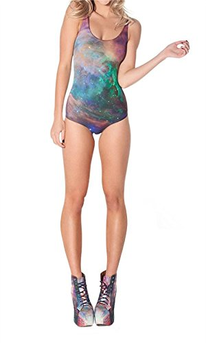 Amoluv Women Galaxy Rainbow Pattern Tight Stretch One Piece Swimsuit (Tie Dye One Piece compare prices)