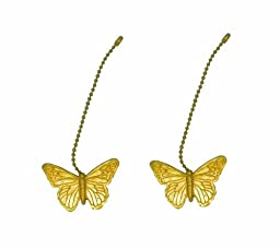 Pair of Gold Toned Butterfly Shaped Lamp Decor Fan Pulls Light Chain