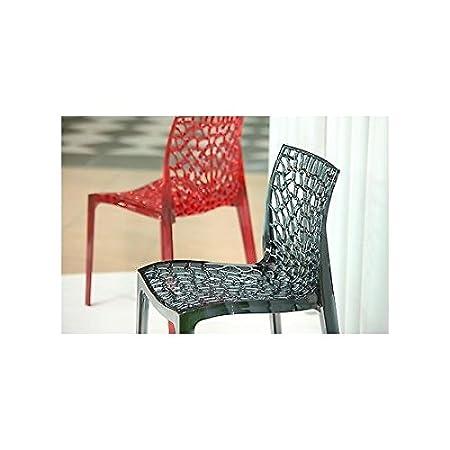 estea meubles-Chaise cuisine moderne en polycarbonate ajourée rouge-121053435435