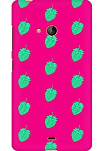 AMEZ designer printed 3d premium high quality back case cover for Microsoft Lumia 540 (green pink strawberries)