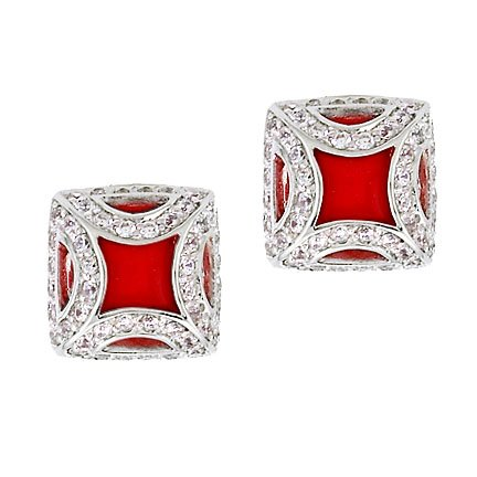 Fancy Frame Simulated Coral Silver Square Stud Earrings