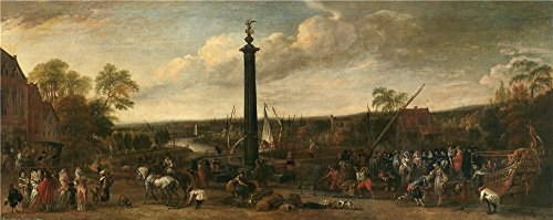 High Quality Polyster Canvas ,the High Resolution Art Decorative Canvas Prints Of Oil Painting 'Minderhout Hendrik Van Desembarco De Un Cortejo En Un Puerto Fluvial 1688 ', 16 X 40 Inch / 41 X 102 Cm Is Best For Gift For Girl Friend And Boy Friend And Home Decor And Gifts