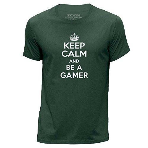 STUFF4-HombresXX-Grande-XXLVerde-OscuroCuello-redondo-de-la-camisetaKeep-Calm-Be-A-Gamer