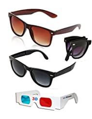 Combo Of Brown Wayfarer Sunglasses + Foldable Black Wayfarer Sunglasses + Free 3D Glasses ( Brown Sunglasses )...
