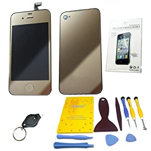 YAGADGET iPhone 4 Shiny Gold Color Conversion Color Swap Front Glass Screen Lcd Replacement Back Door Assembly & Home Button Do It Yourself Kit (Includes Full Toolkit + Screwmat + Screen Protector + LED Keychain Light) Verizon Sprint CDMA ONLY