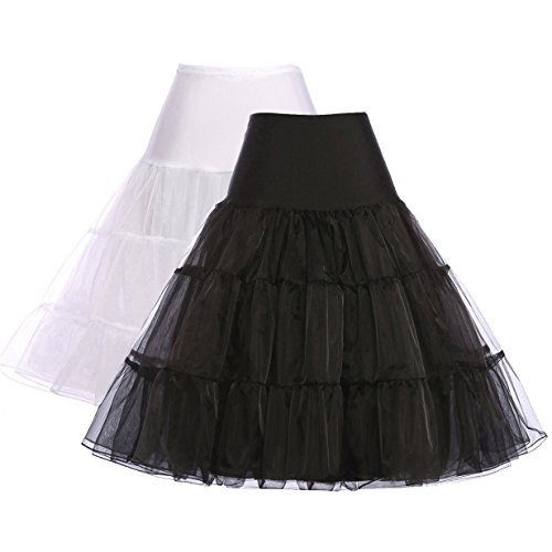 Women Petticoat Skirt 50s Dress Tutu Half Slips (Small, 2-Pack) (Dress Vintage compare prices)