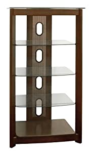 Poundex 5-Tier Glass Top Media Shelf, Chocolate