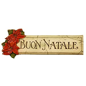 Click to buy Italian Christmas decorations : Buon Natale plaque with poinsettia from Amazon!