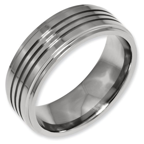 Titanium Grooved 8mm Polished Band Ring Size 6 Real Goldia Designer Perfect Jewelry Gift for Christmas