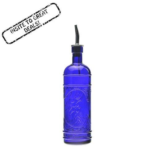 16.1oz Cobalt Blue Olive Leaf Multi-purpose Kitchen Olive Oil, Liquid Hand, Dish Soap Decorative Glass Bottle Dispenser Designer Glass Bottle with Perfect Pour Stainless Steel Spout (Wine Kitchen Soap Dispenser compare prices)