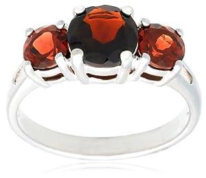 Sterling Silver 3-Stone Garnet Ring, Size 9