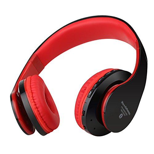 Sound Intone NK-850 High Definition Bluetooth Wired-Wireless Double Use On-Ear Noise Cancelling Hands-Free Calling Stereo Headphones Headsets with Built-In Microphone, Stretchable Structure, TF Card Support, FM Radio Function (Black&red)
