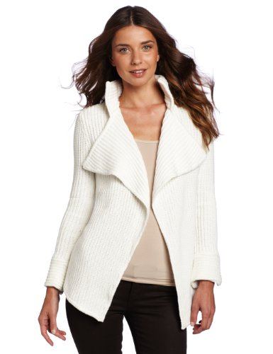 525 America Women's Open Shaker Cardigan, Winter White, Small