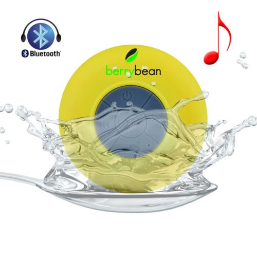 Berrybean Belle - Mini Portable Waterproof Bluetooth 3.0 Wireless Stereo Speaker W Suction Cup For Shower, Bathroom, Pool, Boat, Car, Outdoor, Etc, Compatible W All Bluetooth Devices - Ios Iphone / Ipad, Android - 6 Hour Rechargeable Battery W Built-In Mi