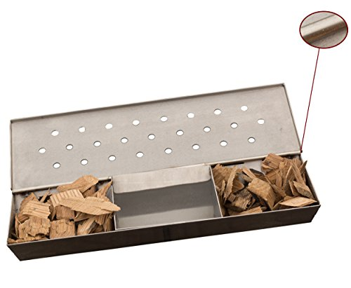 V Shaped Smoker Box Large - 25% THICKER STAINLESS STEEL & REMOVABLE WATER RESERVOIR - Wood Chips for Smoking Meat on Gas & Propane BBQ Grills - Fits Between Flavorizer Bars & Hinged Lid - Cave Tools (Small Propane Oven compare prices)