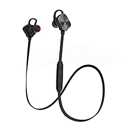 Mpow Magneto Wearable Bluetooth 4.1 Wireless Sports Headphones In-ear apt-X Stereo Earbuds Headsets with 8-Hour Mic Talking Time for Running Exercise(Black/Black)