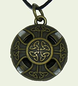 Aromatherapy locket Celtic Cross Brass color Alloy on 24 in black wax cord with 10 refill pads