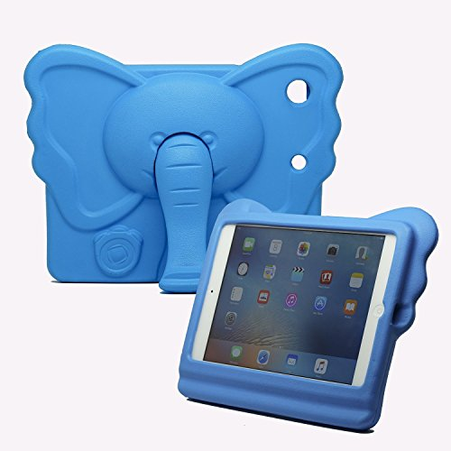 NCURV Apple iPad mini EVA case - Best Protection - Shock proof - Perfect Custom fit for your iPad mini Tablet 1, 2,3 - Cute Animal - Elephant Case with Stand for Kids - Blue (Sell Ipad Mini compare prices)