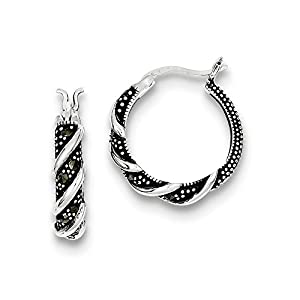 .925 Sterling Silver 21 MM Swirl Marcasite Hoop Earrings