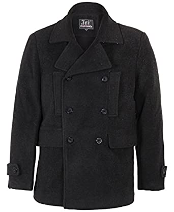 Pea Coat Jacket Warm Outdoor (, S) at Amazon Men's Clothing store