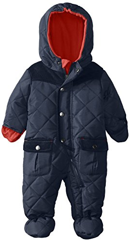 Rothschild Baby Boys Quilted Footed Puffer Snowsuit With Corduroy Trim And Hood - Navy (Size 0/6M)