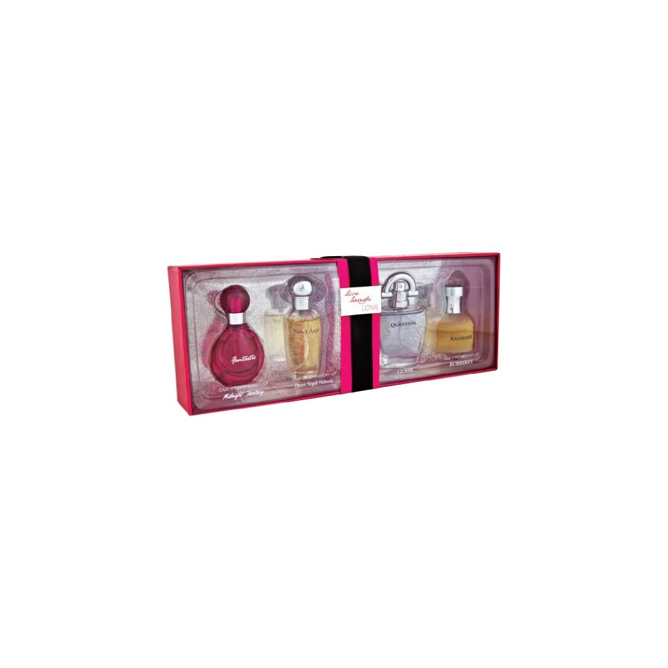 Live, Laugh, and Love Red Collection Gift Set By Preferred Fragrance Contains Impressions of Fantasy® By Britney Spears, Dream Angels Heavenly® By Victorias Secret, Guess® By Guess and Burberry® By Burberry.