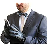 FOWNES TOUCHPOINT Men's Fleece/Cashmere Lined Black Stretch Lambskin Leather Gloves