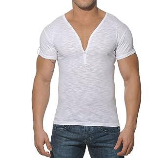 ES Collection T-Shirt Button Down Slim Fit Blanc Taille XXL