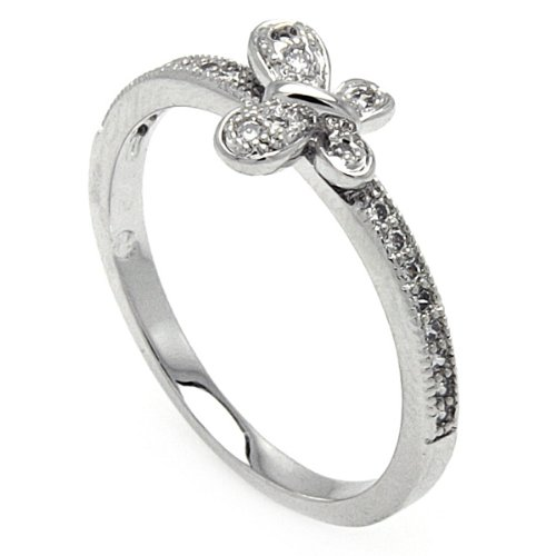 Rhodium Plated Sterling Silver High Polish Cubic Zirconia Butterfly Design Promise Fashion Ring Band (Sizes 5 to 9) - Size 5