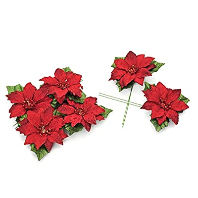 6 x Red Glitter Poinsettia Head Pick 6cm diameter for Wreaths Garlands