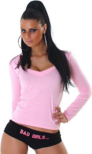 Jela London Damen Langarm-Shirt mit V-Ausschnitt - Viele Trendfarben